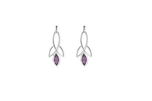 Silver Amethyst Celtic Style Earrings - SE1371AM