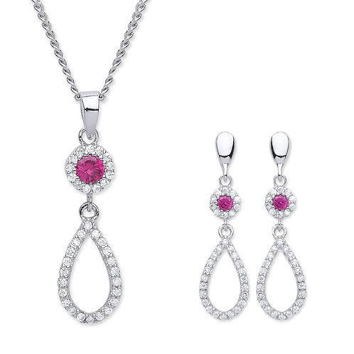 Silver Ruby Coloured CZ Pendant and Earrings Set - P3810-2-SET
