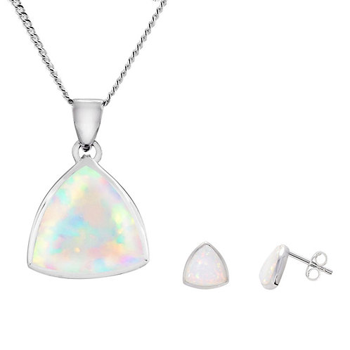 Silver White Opal Pendant and Earrings Set - SP2305WCOP- SE2304WCOP-SET