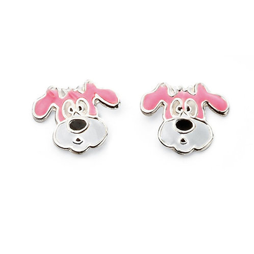 Pink & White Dog Earrings - A2021