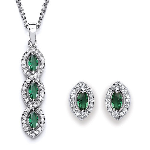 Silver Emerald Coloured Marquise CZ Pendant and Earrings Set - P3691-3- SET