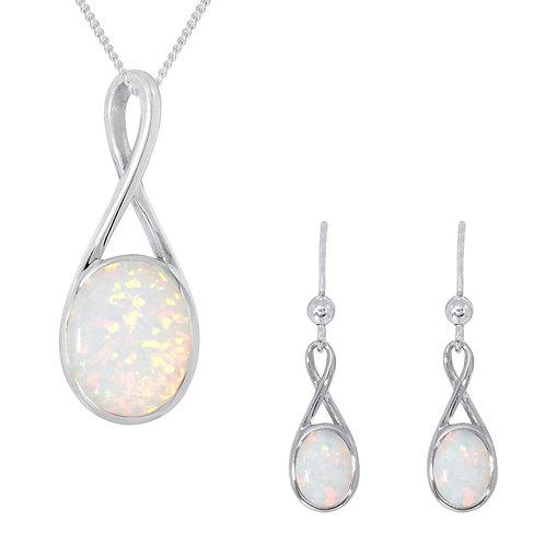 Silver White Oval Opal Pendant and Earrings Set - SP2790WCOP-SE2791WCOP-SET