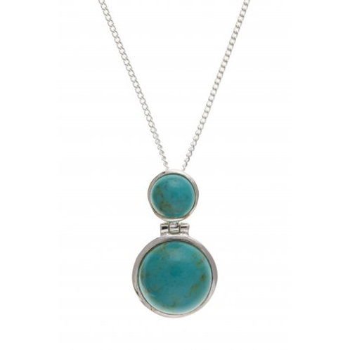 Silver Turquoise pendant with chain- BT0318