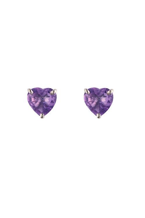 Silver Amethyst Heart Stud Earrings - SE1101AM