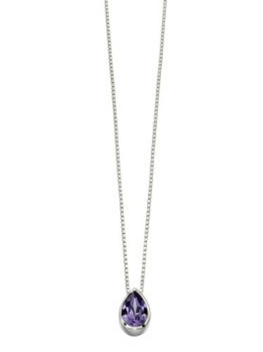 Silver Teardrop Amethyst Coloured Pendant - P4178m