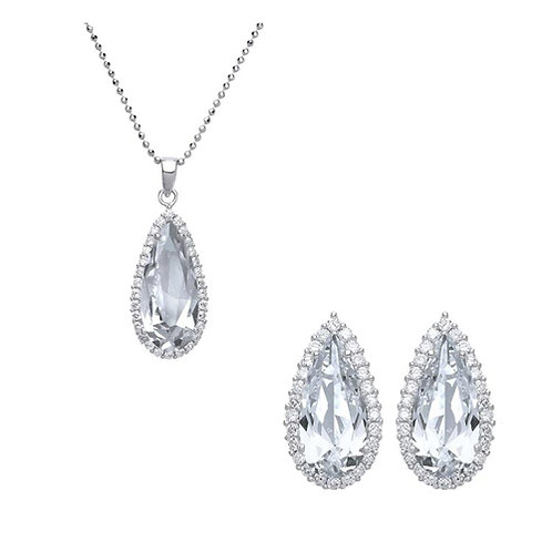 Cubic Zirconia Pear Pendant & Earrings Set - PUR3768-SET