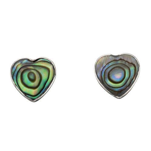 Paua Shell Heart Earrings - E5010S
