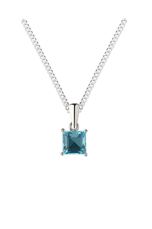 Silver Real Blue Square Pendant - SP1132BT