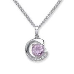 Silver amethyst & cz pendant with chain- NSNCLEDAMCZP