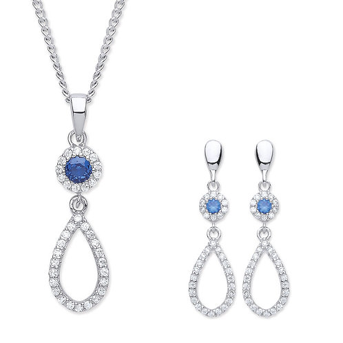 Silver Sapphire Coloured CZ Pendant and Earrings Set - P3810-1-SET