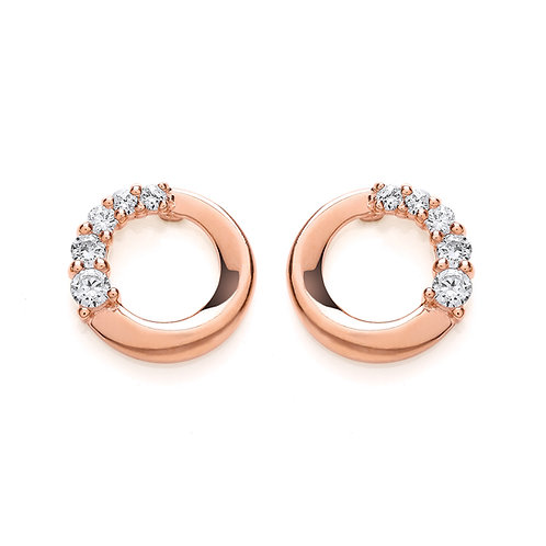 Silver Rose Gold Plated Stud Earrings - PUR3609ES
