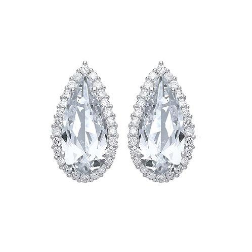 Cubic Zirconia Pear Stud Earrings - PUR3768ES