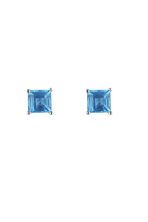 Silver Blue Square Stud Earrings - SE1110BT