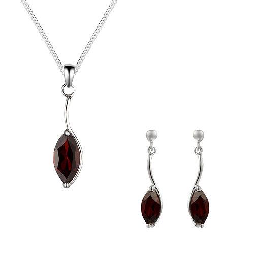 Silver Garnet Marquise Pendant and Earrings Set - SP1186GA-SE1155GA-SET