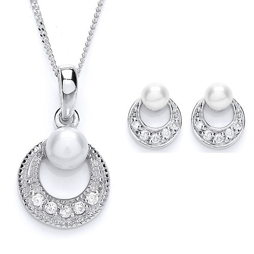 Silver White Freshwater Pearl Pendant and Earrings Set - PUR1683-SET