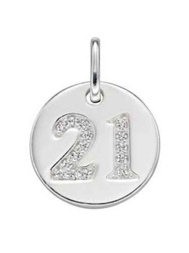 Silver 21st pendant with 18inch silver curb chain- P4829c