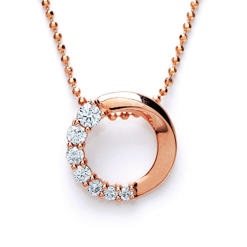 Silver Rose Gold Plated CZ Pendant - PUR3609P