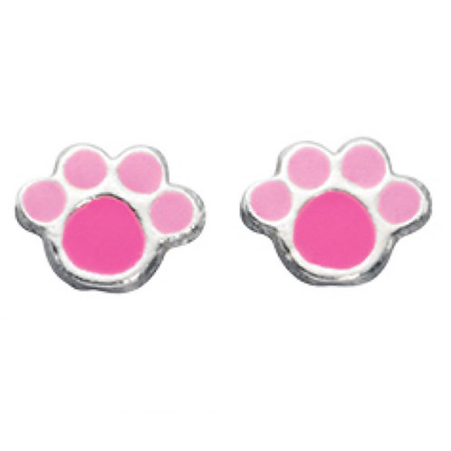 Pink Paw Print Earrings - A883P