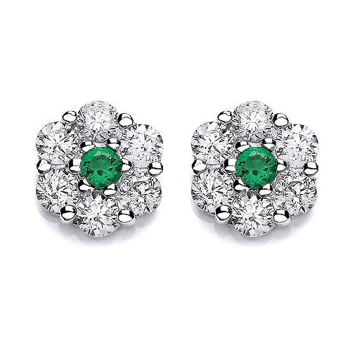 Silver Emerald Coloured CZ and White CZ Stud Earrings - P3701ES-3