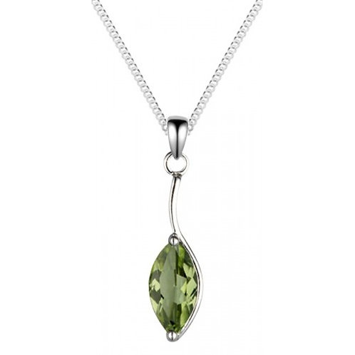 Silver Real Peridot Marquise Shaped Pendant - SP1186PD