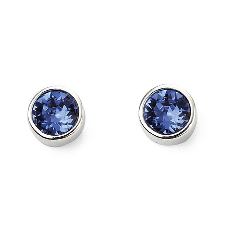 Silver Sapphire Coloured Round Stud Earrings - E5567