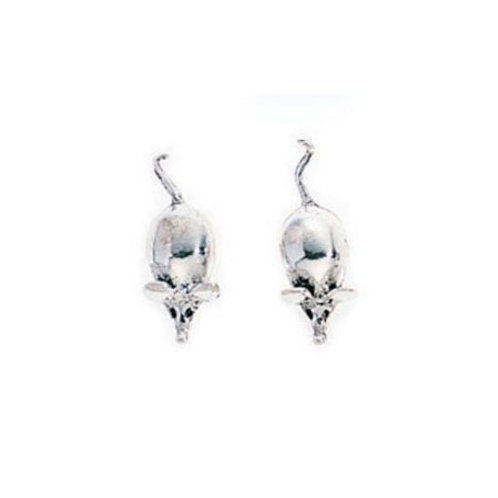 Silver Mouse Stud Earrings - A730