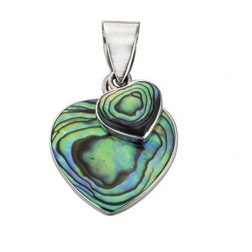 Paua Shell Double Heart Pendant - P4275S