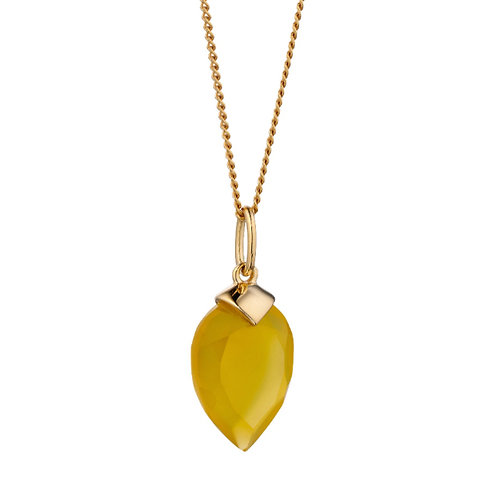 Yellow Chalcedony Birthstone Pendant (November) - P4985