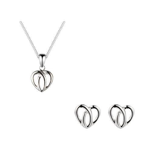 Silver Heart Shaped Celtic Pendant and Earrings Set - SE3478-SP9239-SET