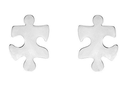 Silver Jigsaw Stud Earrings - SE2226