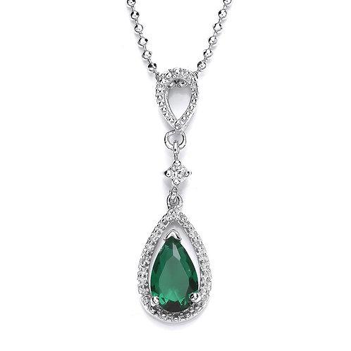 Silver Emerald Coloured CZ and White CZ Pendant - P3700P-2