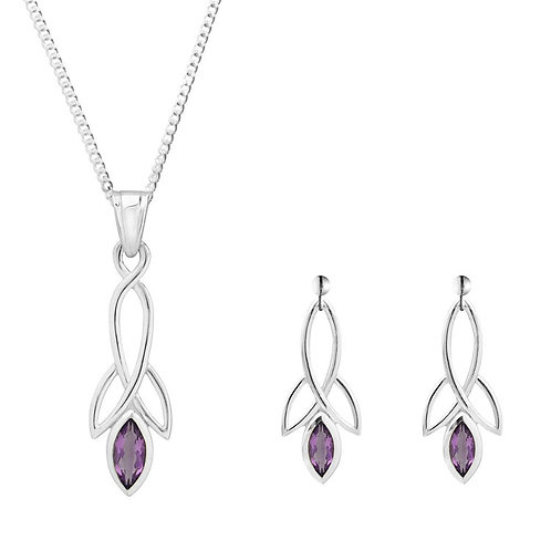 Silver Amethyst Celtic Pendant and Earrings Set - SP1372AM-SE1371AM-SET