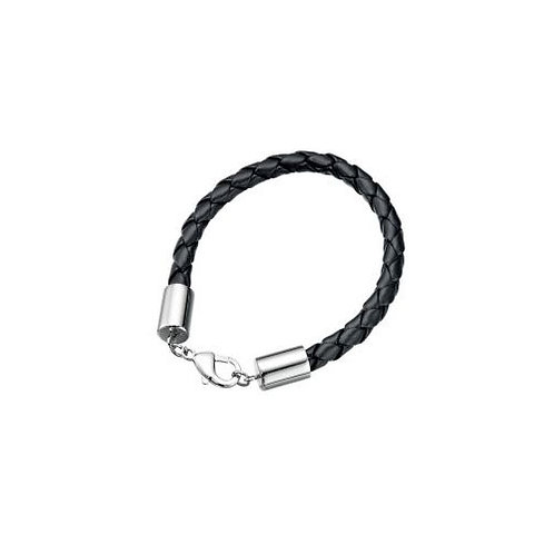 Stainless Steel Clasp Black Leather Bracelet  - B3601B