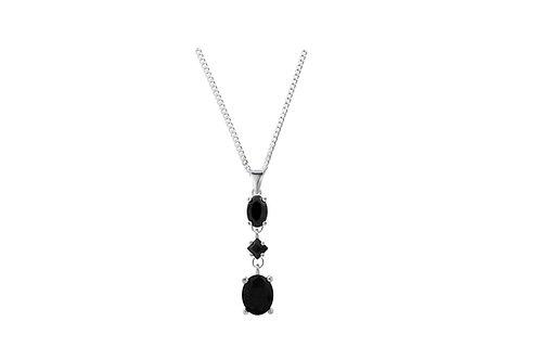 Silver Black CZ 3 Stone Pendant - SP1360BKCZ