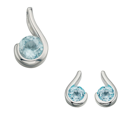 Silver Blue Topaz Curl Pendant and Earrings - P532T-E436T-SET