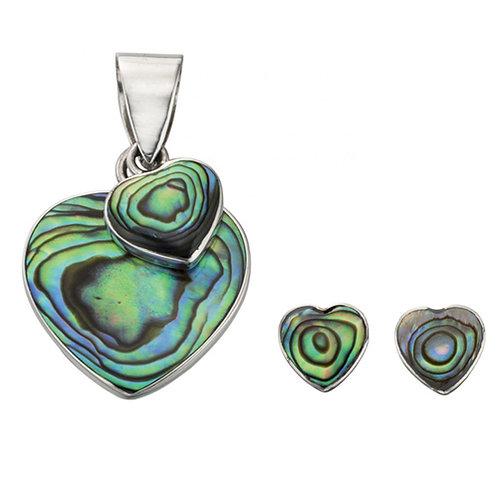 Paua Shell Double Heart Pendant & Earrings -P4275S-E5010S
