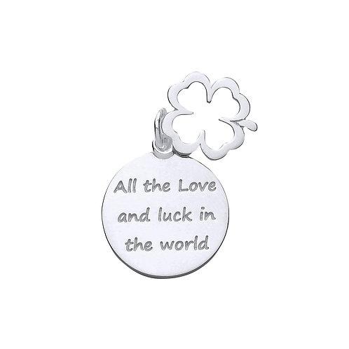 Silver 4 leaf clover message pendant & chain -  BU9100