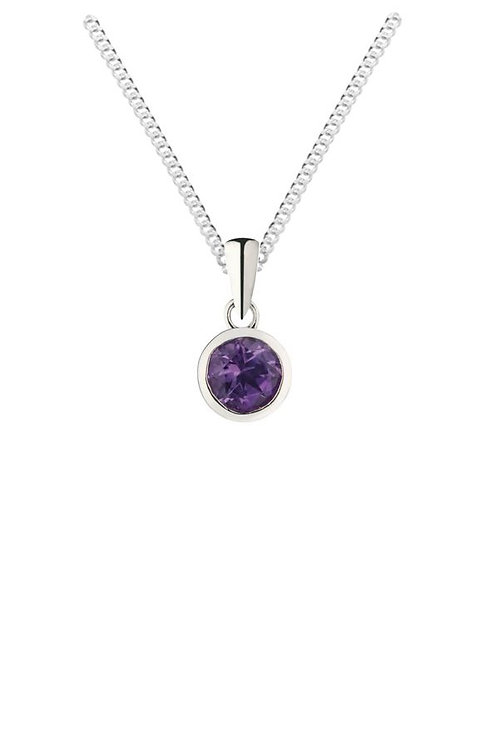 Silver amethyst cz pendant and chain - SP1142AM