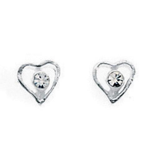 Cubic Zirconia Heart Earrings - A716C