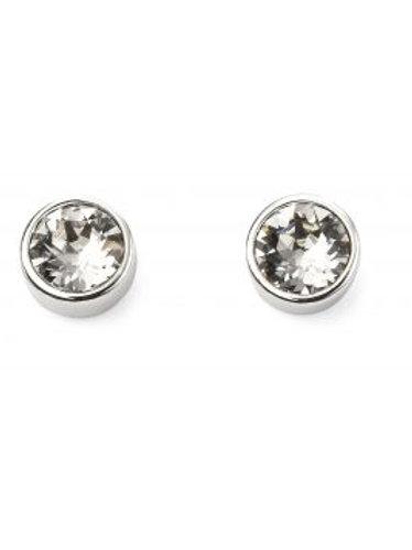 Silver White Round Stud Earrings - PUR0406-3