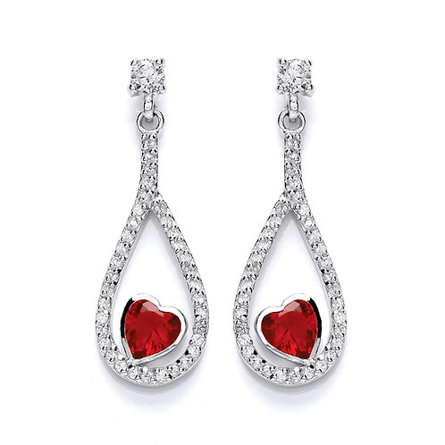 Silver Heart Cubic Zirconia Stud Earrings - P3632ES-2