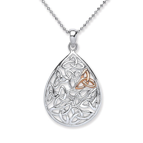Silver and Rose Gold Plated Celtic Pendant - PUR3738P