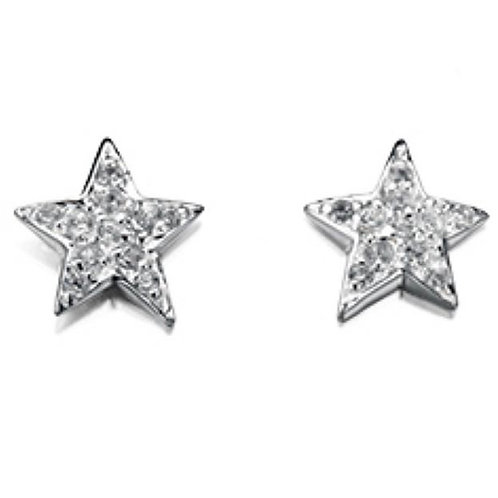 Cubic Zirconia Star Stud Earrings - E4078C