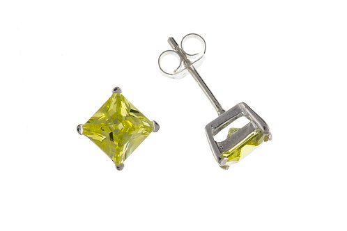 Silver Peridot Stud Earrings - BP6499