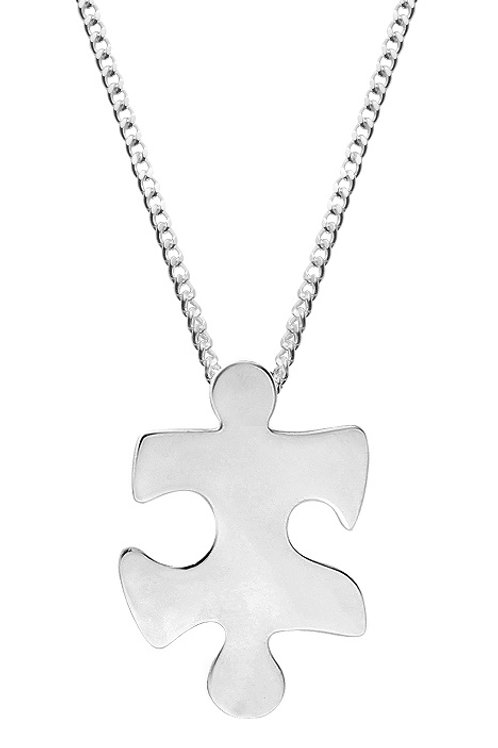 Silver Jigsaw Shaped Pendant - SP2227