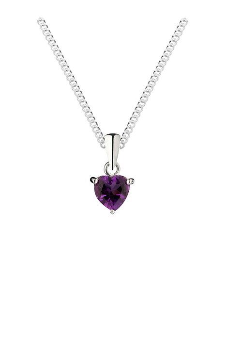 Silver Amethyst Heart Shaped Pendant - SP1140AM