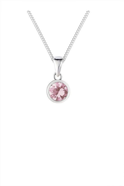 Silver Pink Round CZ Pendant - SP1142PCZ