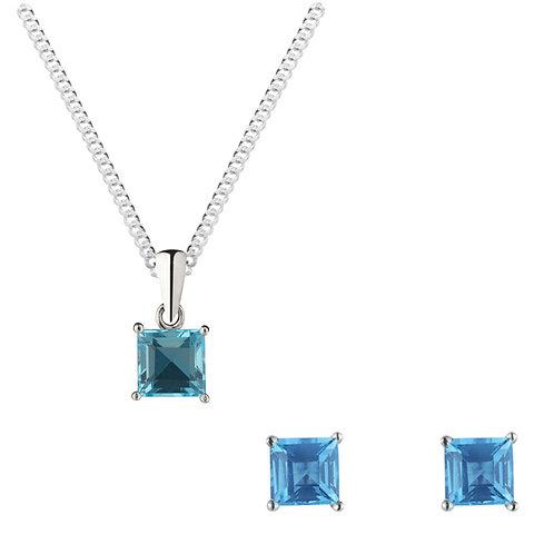 Silver Blue Topaz Pendant and Earrings Set - SP1132BT-SE1110BT-SET
