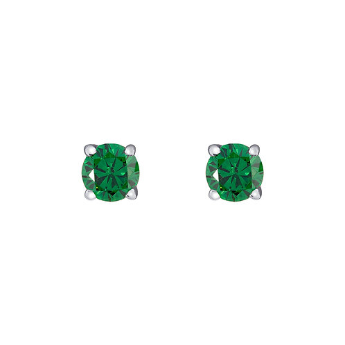 Silver Emerald Round Stud Earrings - SE1108ECZ