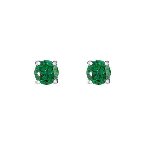Silver Emerald Round Stud Earrings - SE1108ECZ